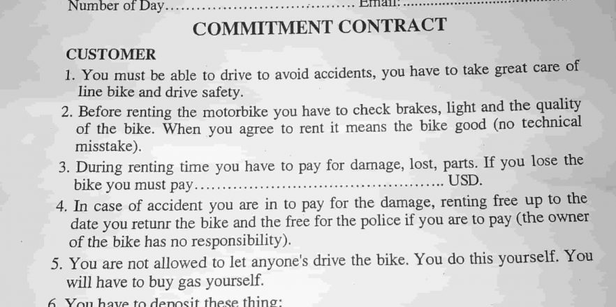Contract Motorbike Rental In Hanoi