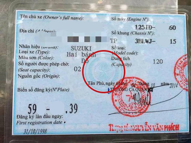 Fake Blue Card Motorbike in Vietnam
